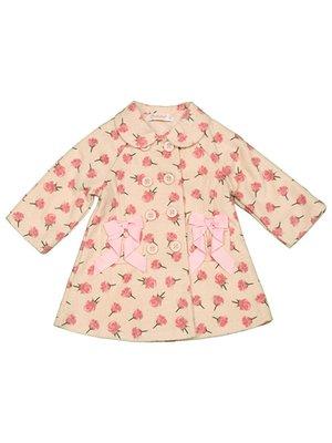 Пальто розовое с цветочным принтом | 2363647