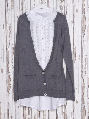 Джемпер біло-сірий, стилізований під блузу і кофту | 973753