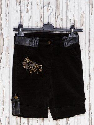 Капри черные с вышивкой | 1601086