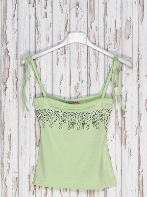 Топ зеленый с декором | 2330932