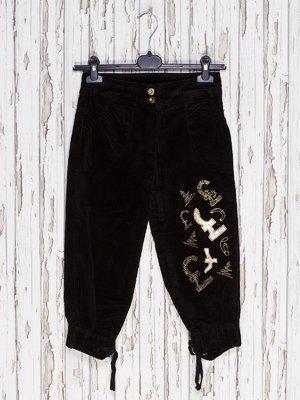 Капри черные с вышивкой | 1590253