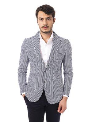 Пиджак сине-белый в полоску | 2392619