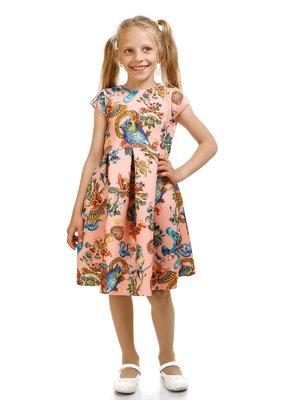 Сукня персикового кольору в принт | 2392923