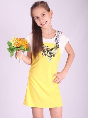 Туніка біло-жовта з декорованим принтом | 2399679