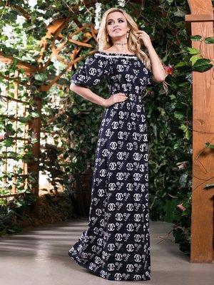 Платье черное в принт | 2401680