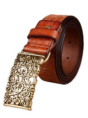 Ремінь коричневий з малюнком | 2407257