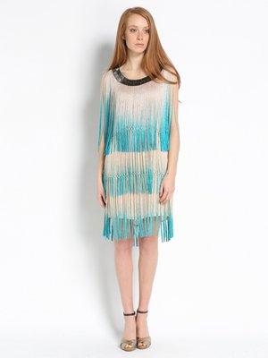 Платье бежево-голубое | 2408116