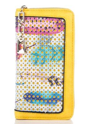 Гаманець жовтий з принтом | 2409381