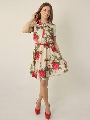 Платье молочного цвета с цветочный принтом | 2416747