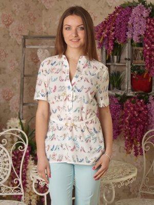 Блуза белая в принт | 2416749