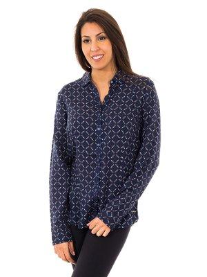 Блуза темно-синя в візерунок | 2420727