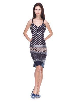 Платье темно-синее в горох | 2423646