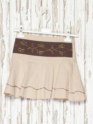 Юбка бежево-коричневая с вышивкой | 2056881