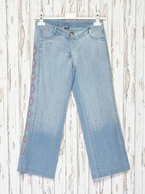 Капрі блакитні джинсові з ефектом потертих | 2386923