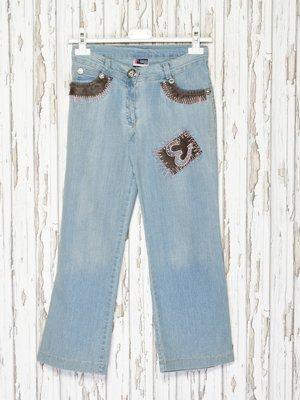 Капри голубые джинсовые | 2386918