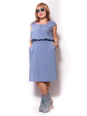 Платье голубое в горох | 2460455