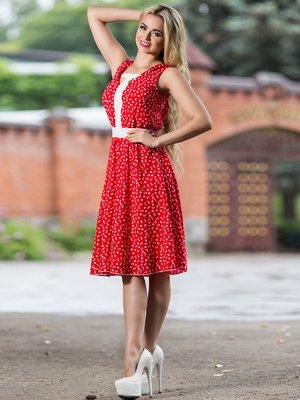 Платье красное в принт | 2468449