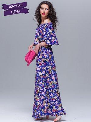 Сукня синя в квітковий принт | 1634419