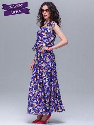 Сарафан синий в цветочный принт | 1735400