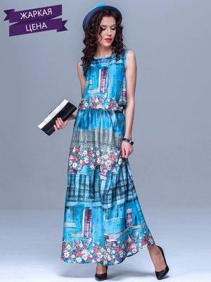 Сукня блакитна у комбінований принт | 1774184