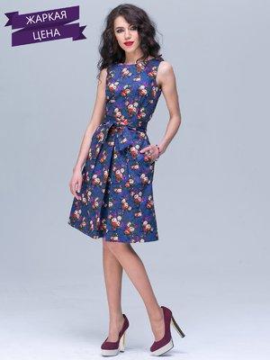 Платье фиолетовое с цветочным принтом | 2278511