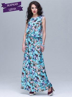 Сукня блакитна у квітковий принт | 2346321