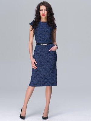Сукня синя з принтом | 2495625