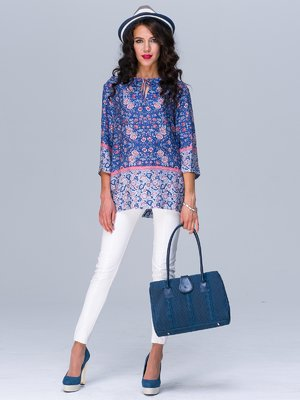 Блуза синяя в принт | 2497669