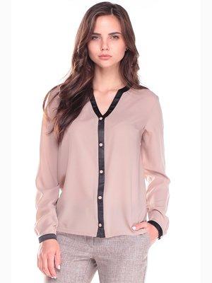 Блуза кольору мокко з контрастним оздобленням | 2491705