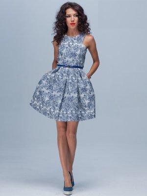 Платье синее в цветочный принт | 1833442