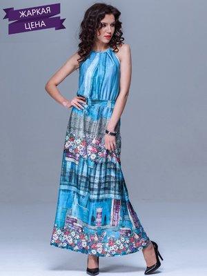 Платье голубое в комбинированный принт   1781219
