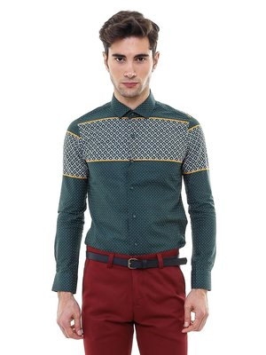 Рубашка зеленая с принтом | 2542219