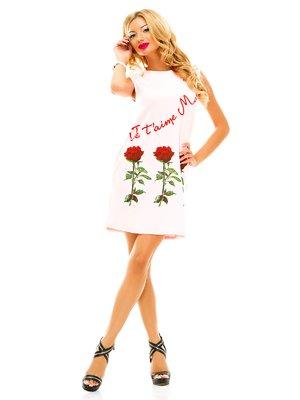 Сукня рожева з принтом | 2551759