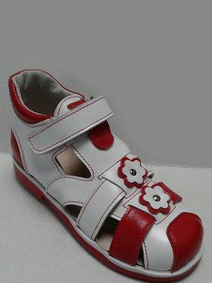 Босоніжки біло-червоні | 2554875