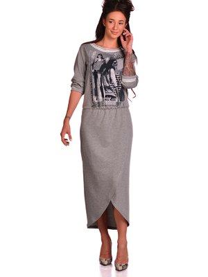 Сукня сіра з принтом | 2562893