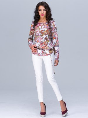 Блуза белая в принт | 2564963