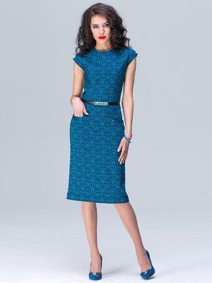 Платье бирюзовое с принтом | 2564912