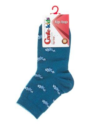Шкарпетки темно-бірюзові з квітковим малюнком | 2626273