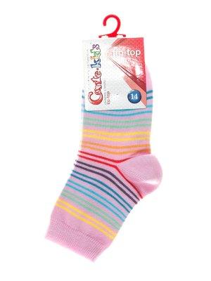 Шкарпетки рожеві в різнокольорову смужку | 2626389