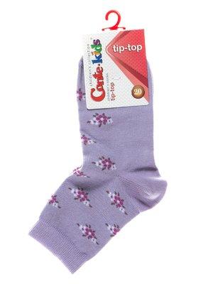 Носки сиреневые с цветочным рисунком | 2626276