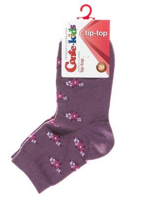 Носки фиолетовые с цветочным рисунком | 2626274
