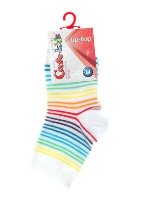 Шкарпетки білі в різнокольорову смужку | 2626388