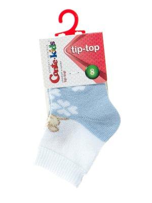 Носки бело-голубые с рисунком | 2626381