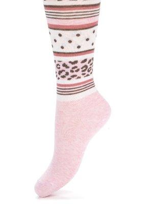 Колготки світло-рожеві з комбінованим малюнком | 2626069