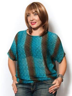 Блуза бирюзовая с принтом | 2573574