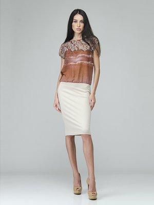 Сукня коричнево-біла у візерунок | 2574381