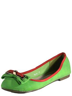 Балетки зеленые с контрастной отделкой | 2150428