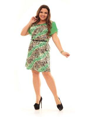 Платье зеленое в анималистический принт | 2592982