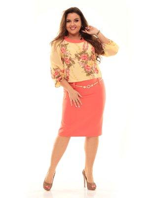 Платье кораллово-желтое в цветочный принт | 2592991