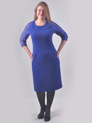 Сукня кольору електрик з візерунком | 2593030